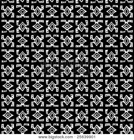 Tribal art. Seamless b/w vector pattern.