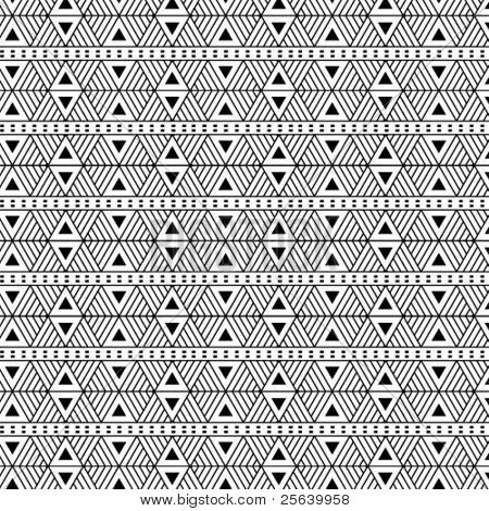 Seamless, triangular vector pattern- b/w.