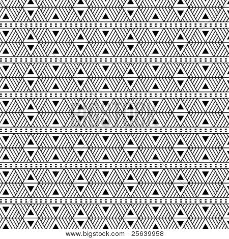 Seamless, triangular vector pattern- b/w.