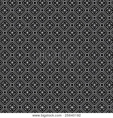 An intricate black and white, vector pattern