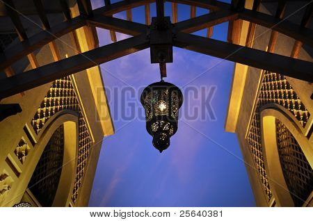 An arabic lamp and architecture