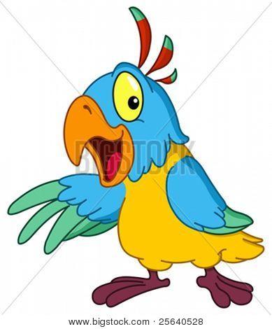 Cartoon Papagei präsentiert mit seiner Flügel