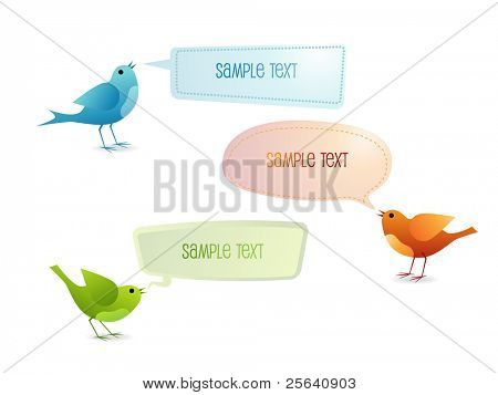Chatting birds with speech bubbles
