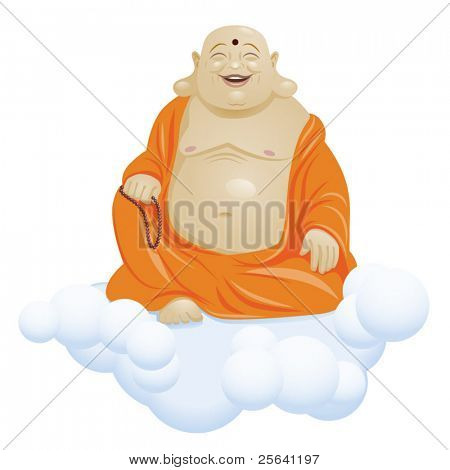 Laughing Buddha or Hotei sitting on a cloud