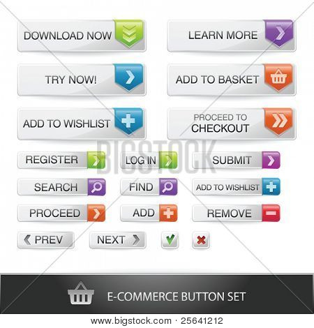 E-Commerce Web Button set mit transparenten Schatten