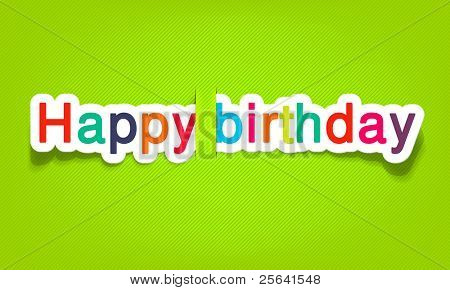 vector happy birthday; realistic cut, takes the background color