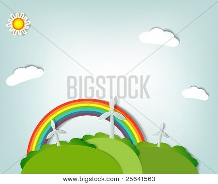 stylized vector landscape with windmills, a rainbow,sun and clouds