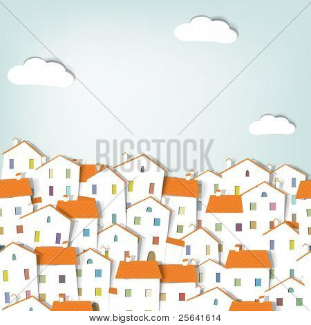 panorama town. seamless vector pattern