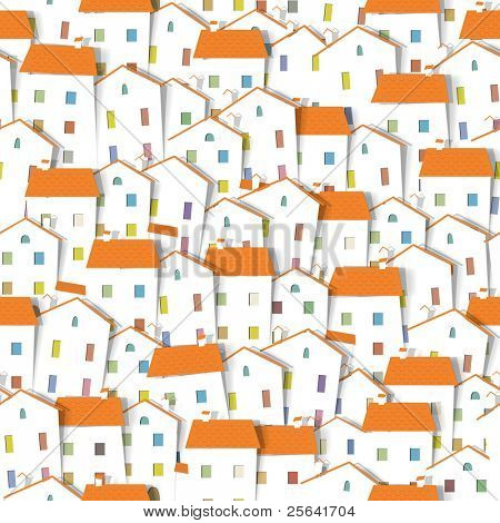 panorama town. seamless vector pattern. part 2