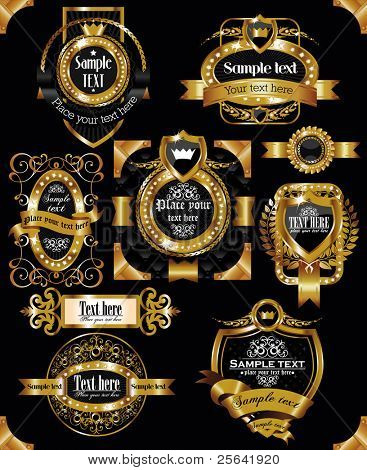 antique vector golden vintage labels on black background
