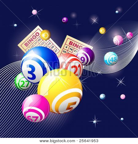 Bingo or lottery balls and cards on blue background