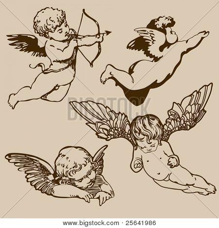 conjunto de vários anjos ou cupidos. isolado