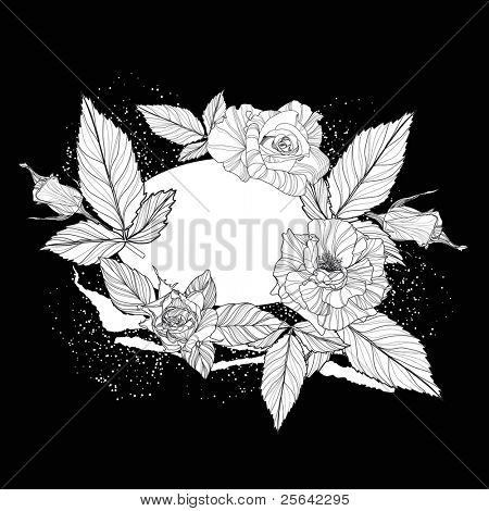 White realistic roses over black background