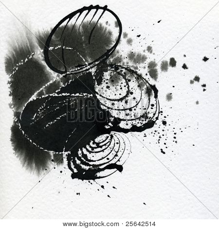Rock garden, japanese calligraphy on the textured paper