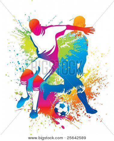 Jugadores de fútbol con un balón de fútbol. Ilustración del vector.