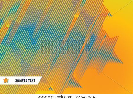 Abstract pattern from striped stars on orange background. Vector illustration.