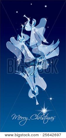 Christmas Angels on a blue background. Classical figures from a paper. Vector illustration.