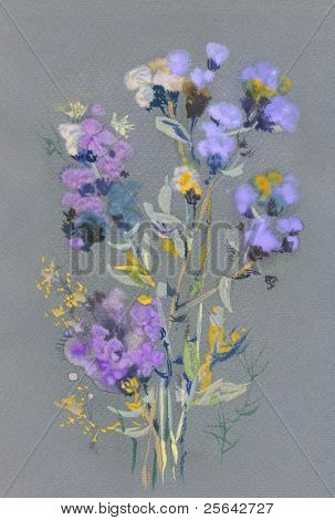 Bunch of dry flowers. Painting on the gray textured paper.