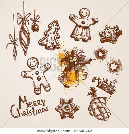 Satz von Weihnachts-Icons. Vektor-Illustration.