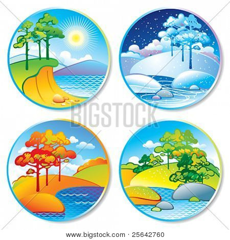 Spring, summer, autumn and winter landscape in a circle. Vector illustration.