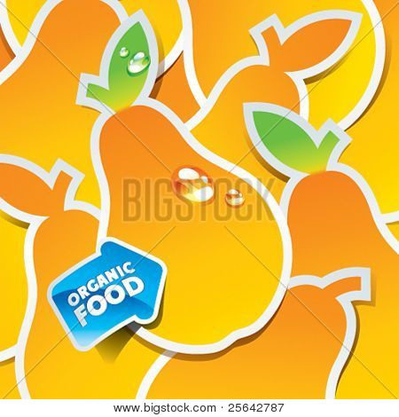 Background from yellow pears with an arrow by organic food. Vector illustration.