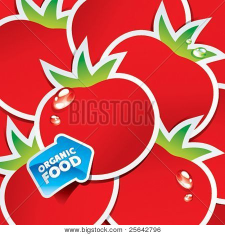 Background from tomatoes with an arrow by organic food. Vector illustration.
