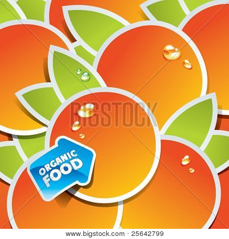 Background from oranges with an arrow by organic food. Vector illustration.