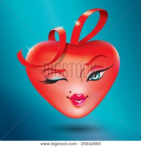Cute heart girl with a red ribbon. Icon for themes like love, valentine's day, holidays. Vector illustration.