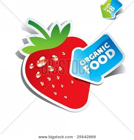 Icon strawberry with the arrow by organic food. Vector illustration.