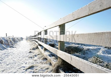 Snow Covered Fenced Path On Cliff Edge Walk