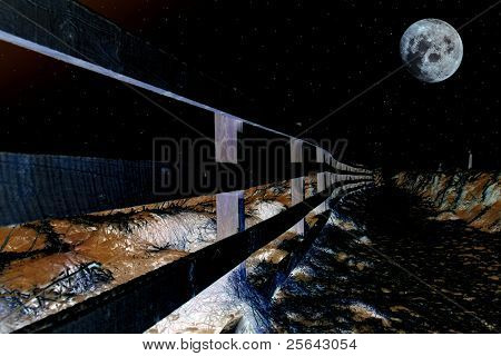 Snow Covered Frozen Path On Cliff Fenced Walk At Midnight