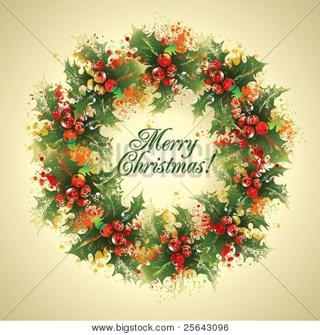Christmas card. The holly wreath with drops and sprays on a beige background. Vector illustration.