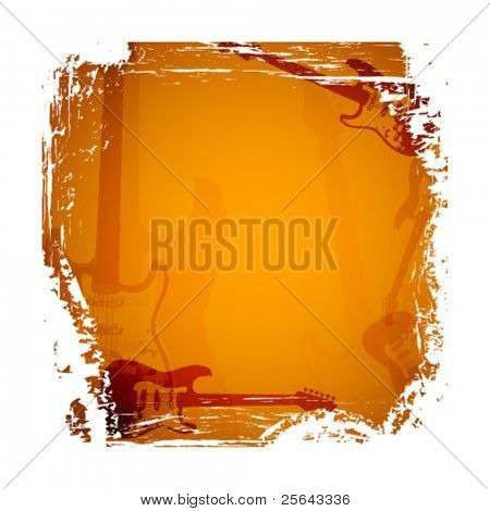 Abstract background with guitar. Vector illustration.