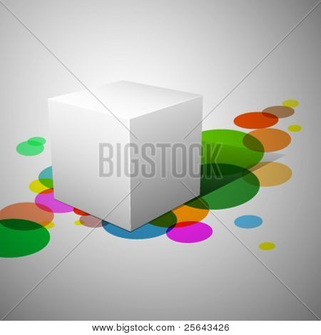 3D cube. Abstract background with cube. Vector illustration.