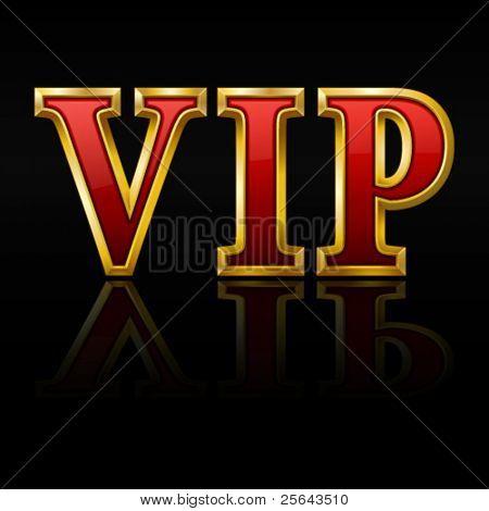 VIP gold letters. Vector illustration.
