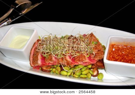 Sliced Salmon With Edamame And Alfalfa Sprouts