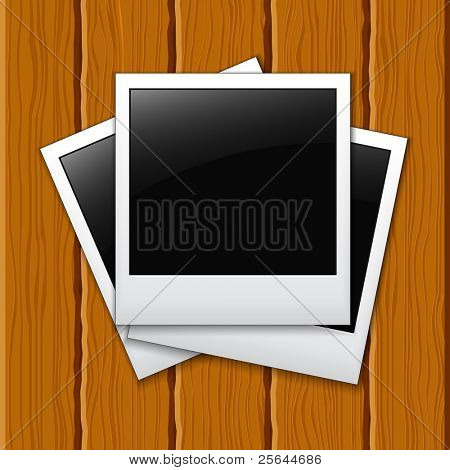 Photos on a wooden surface. eps10
