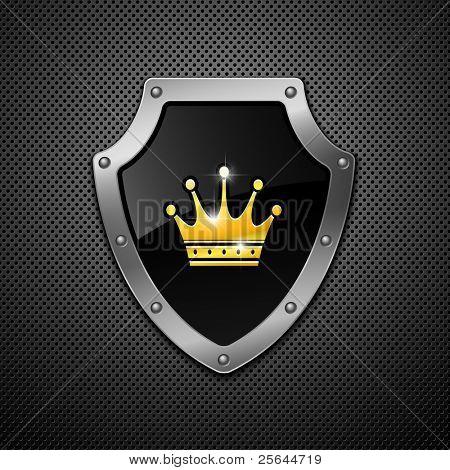 Schild mit Krone auf Metall Hintergrund.