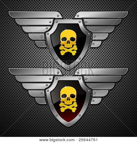 Shield with skull and wings on a metallic background.