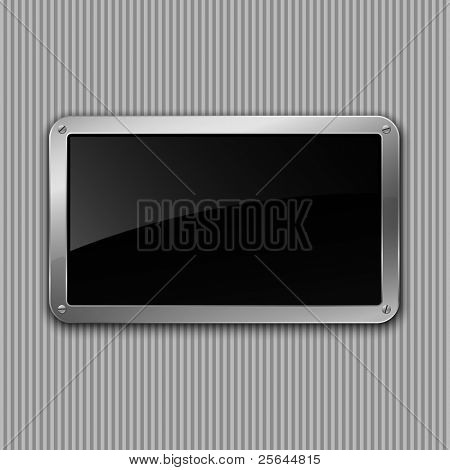 Black glossy plate. Vector illustration. Eps10