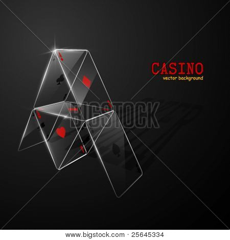 Glass house of cards. Vector illustration.
