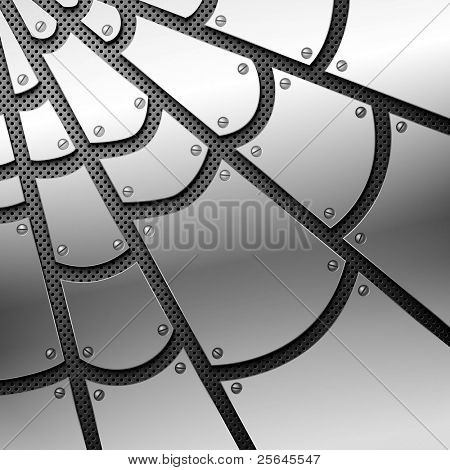 Metallic spiderweb. Vector illustration. Eps10