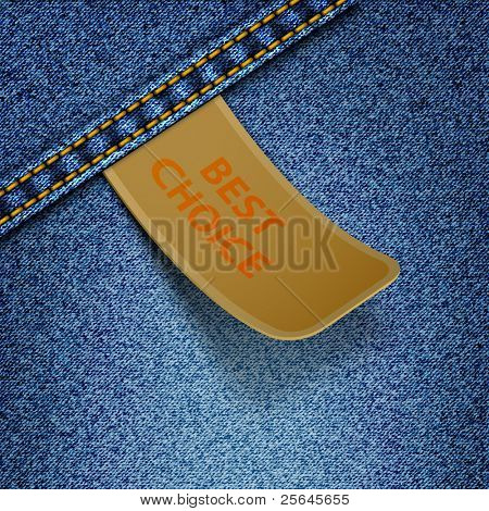Realistic vector denim background with sticker.