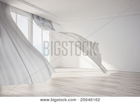 interior room, with white flowing curtains. 3D render