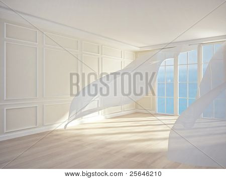 an interior of a room with white flowing curtains. 3D render