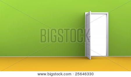 Opened door in the green wall in an empty room