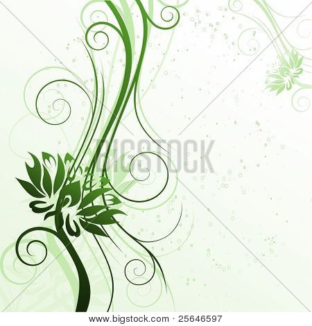 Floral green cover with flowers, vector version also available in my portfolio