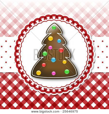 Christmas card template with chocolate tree