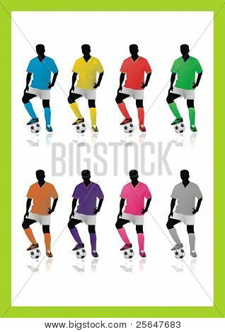 Set of 8 Football, soccer players with ball in different colors