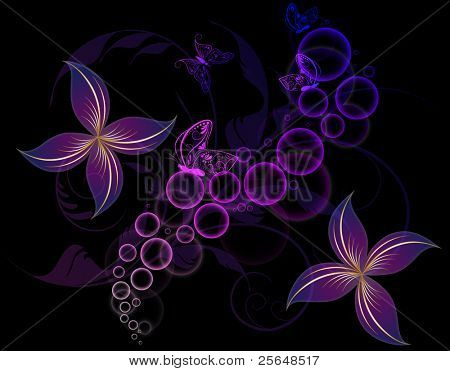 Abstract floral background. Butterfly.